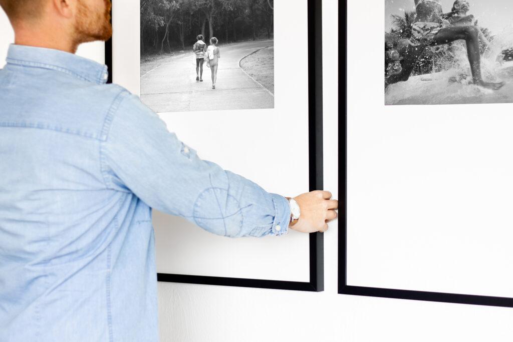 how-to gallery hang wall photo framed prints photography wall art decor design hanging hang framefox