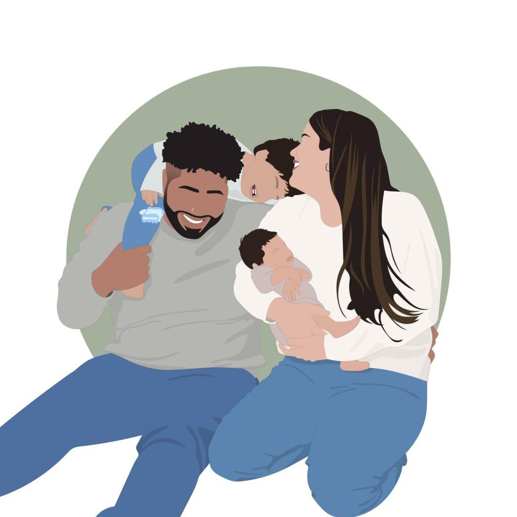 minimalist family portrait framed