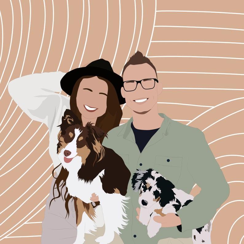 drawing family portrait framed
